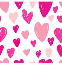 abstract seamless pattern of pink hearts on white vector image