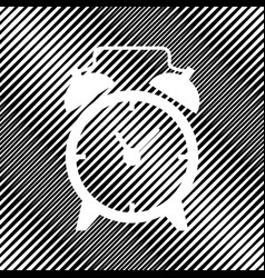 Alarm clock sign icon hole in moire vector
