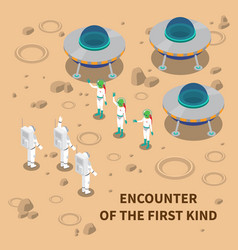 Aliens encounter isometric composition vector