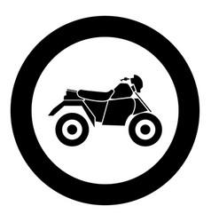 atv motorcycle on four wheels black icon in circle vector image