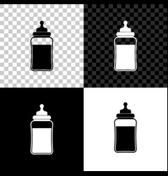 babottle icon isolated on black white and vector image