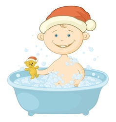 Baby Santa Claus washing in the bath vector image