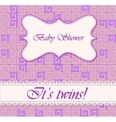 Baby shower greek background twins vector