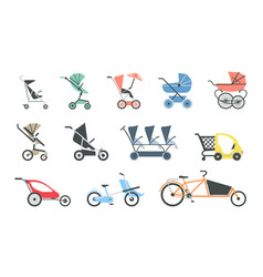 Baby strollers flat icon set of various baby vector