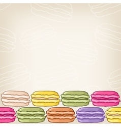 Background with colourful macaroon border vector