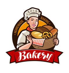 Bakery bakeshop logo or label woman baker vector