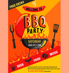 bbq party invitation flyer vector image