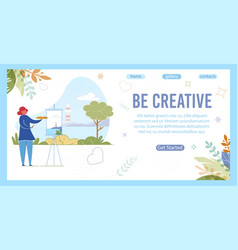 be creative inspiration slogan and woman draws vector image