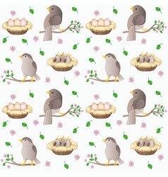 Birds on branches - spring seamless pattern vector