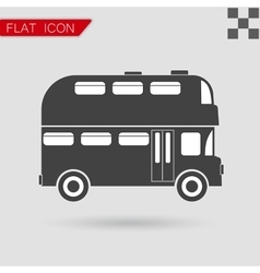 Black Double decker bus icon vector