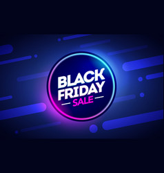 black friday sale offer neon banner vector image