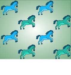 Blue and Green Horses Background Pattern vector image