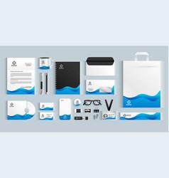 Blue wavy business brand stationery design set vector
