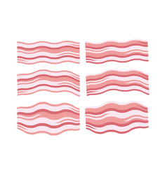 breakfast icons of fresh bacon slices vector image