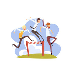 businessmen jumping over hurdles together vector image
