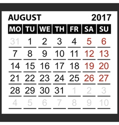 calendar sheet August 2017 vector image