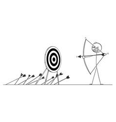 Cartoon man or businessman shooting arrow at vector