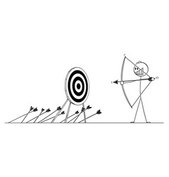Cartoon man or businessman shooting arrow vector