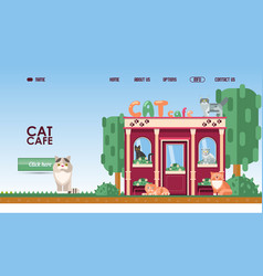 cat cafe for landing page or vector image