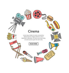 Cinema doodle icons in circle form vector