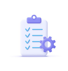 clipboard and gear icon project management vector image