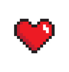 Closeup heart pixel icon vector