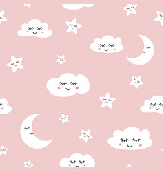 cloud seamless pattern sleeping clouds moon stars vector image