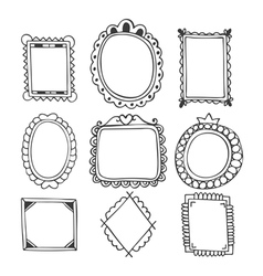 Collection of hand drawn frames Vintage photo vector
