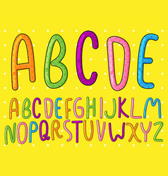 Colorful doodle font collection vector