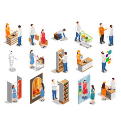 Commercial consumers isometric people vector