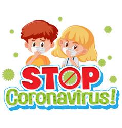 coronavirus poster design with children wearing vector image