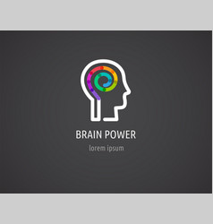 creative colorful logo human head mind brain vector image