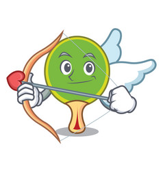 cupid ping pong racket character cartoon vector image