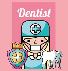 dentist girl cartoon protection dental tooth vector image