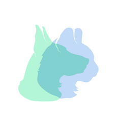 detailed cat and dog profile silhouettes in soft vector image