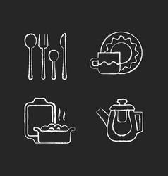 Dinner accessories chalk white icons set on dark vector