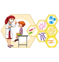 Doctor and patient with virus vector image