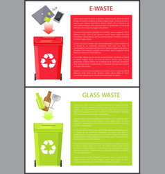 E-waste and glass waste set vector