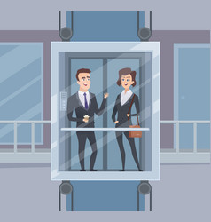 elevator talk businessmen dialogue in elevator vector image