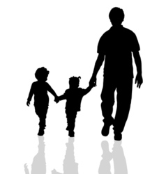 Family walking silhouette two children vector