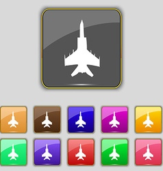 Fighter icon sign Set with eleven colored buttons vector