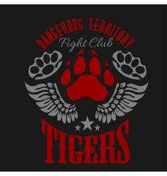 Fighting club emblem - tiger footprint and wings vector image