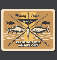 fishing sport retro poster fishes and rods vector image