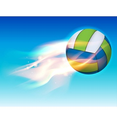 flaming volleyball in sky vector image