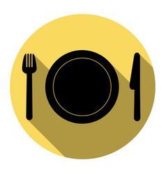 fork plate and knife flat black icon vector image