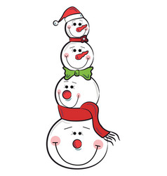 Four snowmen christmas decoration or color vector