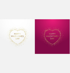 glittering golden heart happy valentine on pink vector image