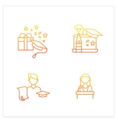 Graduation gradient icons set vector