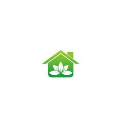 Green house leaf ecology logo vector