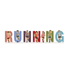 group children running running text font vector image